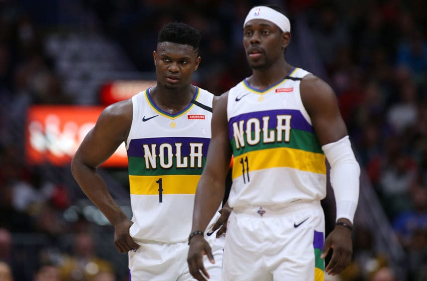 Zion Williamson #1 of the New Orleans Pelicans and Jrue Holiday #11:(Photo by Jonathan Bachman/Getty Images)