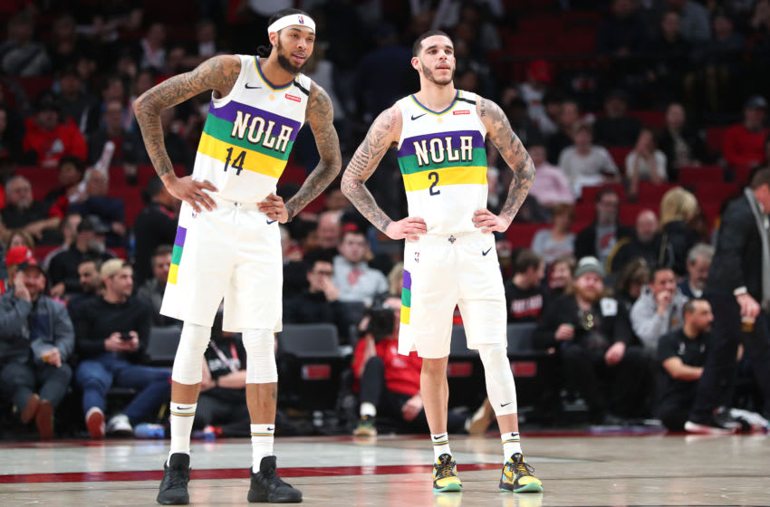 Brandon Ingram #14 and Lonzo Ball #2 of the New Orleans Pelicans (Photo by Abbie Parr/Getty Images)
