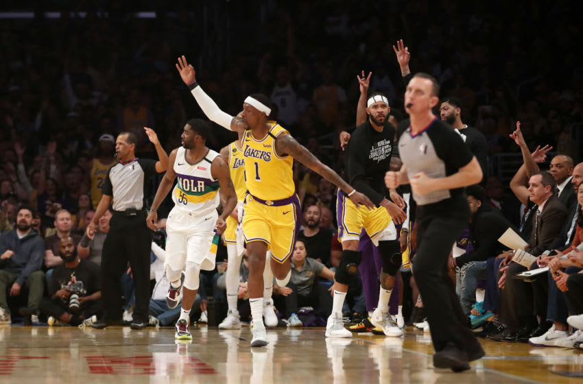 Kentavious Caldwell-Pope #1 of the Los Angeles Lakers reacts to a play in a game against the New Orleans Pelicans (Photo by Katelyn Mulcahy/Getty Images)