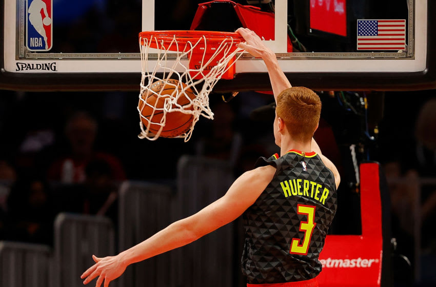 Kevin Huerter #3 of the Atlanta Hawks would be a nice fit on the New Orleans Pelicans (Photo by Kevin C. Cox/Getty Images)