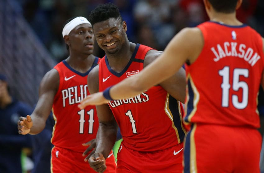 NEW ORLEANS, LOUISIANA - MARCH 03: Zion Williamson #1 of the New Orleans Pelicans reacts during a game against the Minnesota Timberwolves at the Smoothie King Center on March 03, 2020 in New Orleans, Louisiana. NOTE TO USER: User expressly acknowledges and agrees that, by downloading and or using this Photograph, user is consenting to the terms and conditions of the Getty Images License Agreement. (Photo by Jonathan Bachman/Getty Images)