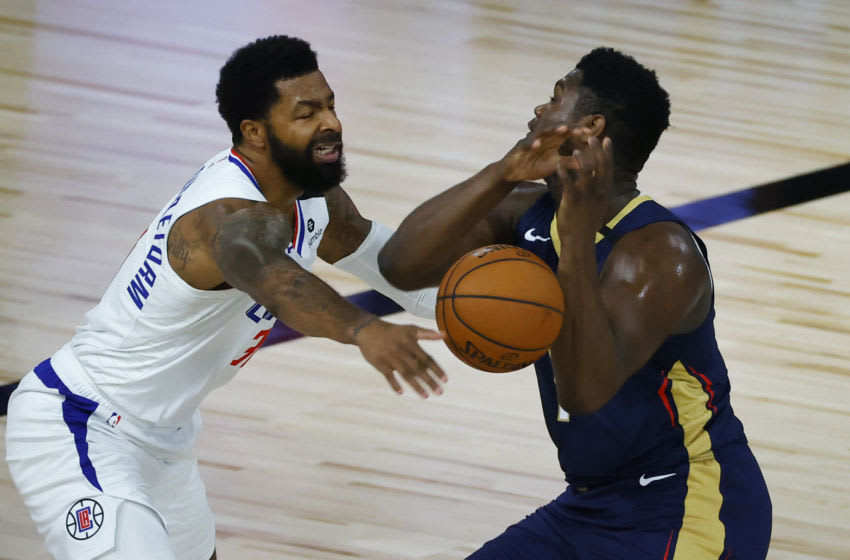 Marcus Morris Sr. #31 of the LA Clippers strips the ball from the hands of Zion Williamson #1 of the New Orleans Pelicans (Photo by Kevin C. Cox/Getty Images)