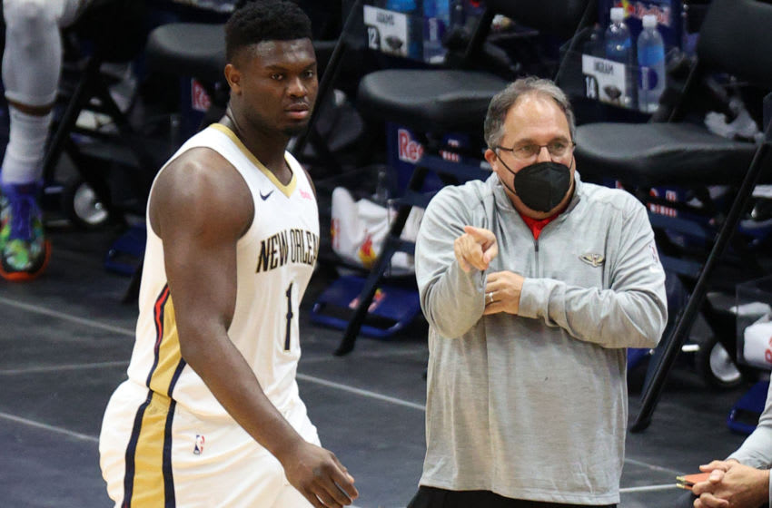 Stan Van Gundy and Zion Williamson of the New Orleans Pelicans (Photo by Chris Graythen/Getty Images)