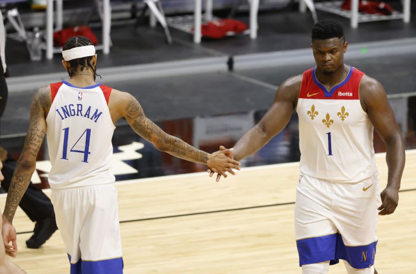 Brandon Ingram #14 and Zion Williamson #1 of the New Orleans Pelicans (Photo by Michael Reaves/Getty Images)