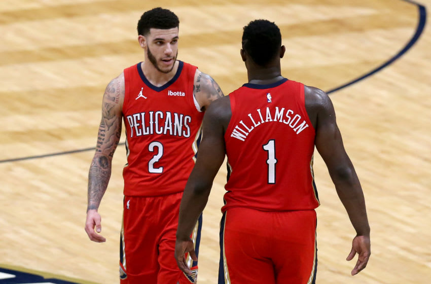 Zion Williamson #1 of the New Orleans Pelicans and Lonzo Ball #2 of the New Orleans Pelicans (Photo by Sean Gardner/Getty Images)
