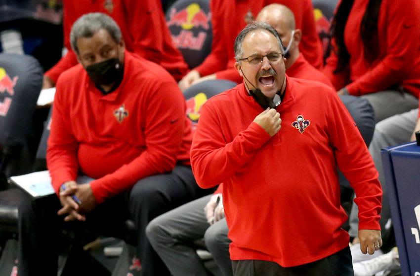 New Orleans Pelicans Head Coach Stan Van Gundy coaches his team during the third quarter an NBA game against the Orlando Magic . (Photo by Sean Gardner/Getty Images)