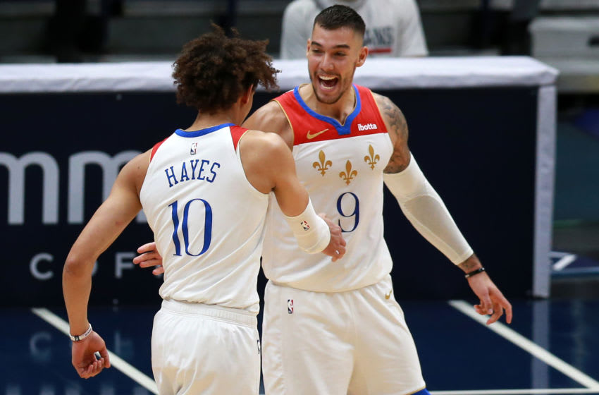 Willy Hernangomez and Jaxson Hayes of the New Orleans Pelicans (Photo by Sean Gardner/Getty Images)