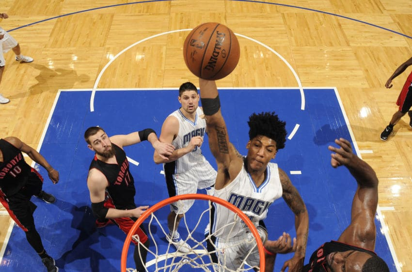 ORLANDO, FL - APRIL 10: Elfrid Payton #4 of the Orlando Magic goes up for a dunk against the Toronto Raptors on April 10, 2015 at Amway Center in Orlando, Florida. NOTE TO USER: User expressly acknowledges and agrees that, by downloading and or using this photograph, User is consenting to the terms and conditions of the Getty Images License Agreement. Mandatory Copyright Notice: Copyright 2015 NBAE (Photo by Fernando Medina/NBAE via Getty Images)
