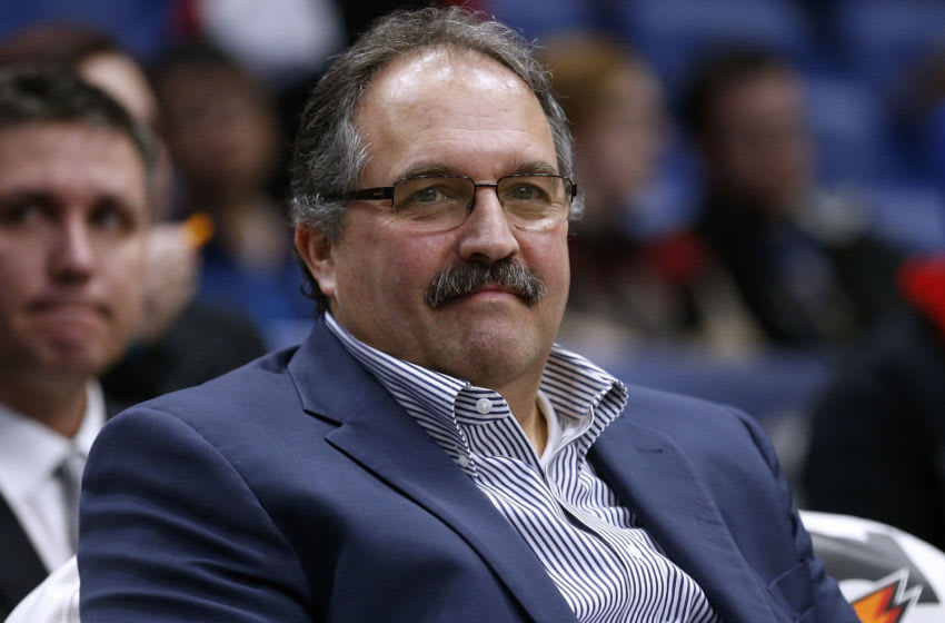 Stan Van Gundy of the Detroit Pistons reacts before a game against the New Orleans Pelicans(Photo by Jonathan Bachman/Getty Images)