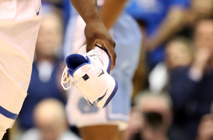 DURHAM, NORTH CAROLINA - FEBRUARY 20: A detailed view of the shoe worn by Zion Williamson #1 of the Duke Blue Devils against the North Carolina Tar Heels during their game at Cameron Indoor Stadium on February 20, 2019 in Durham, North Carolina. (Photo by Streeter Lecka/Getty Images)