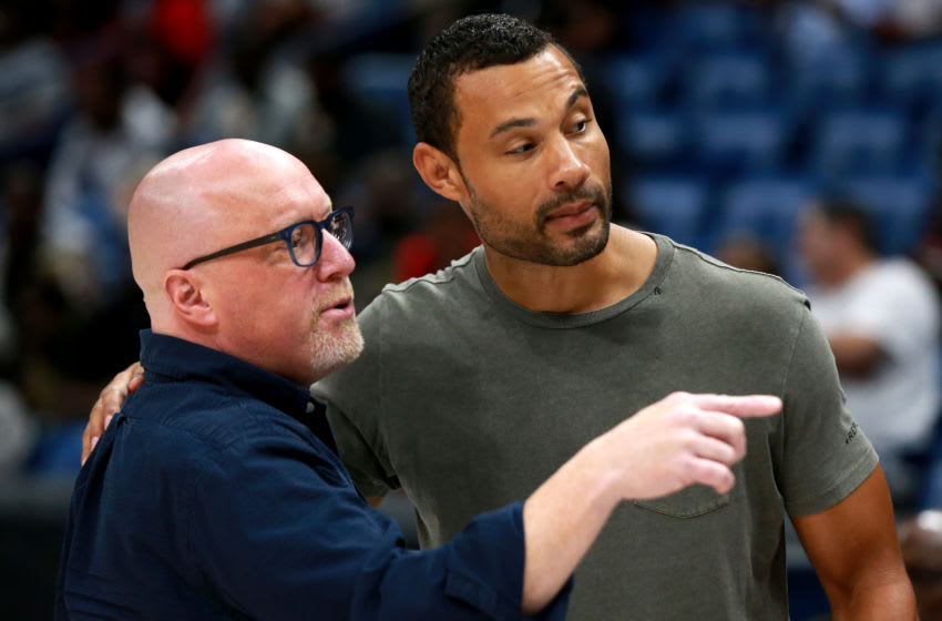 NEW ORLEANS, LOUISIANA - AUGUST 25: Executive VP of Basketball Operations for the Pelicans David Griffin talks with Pelicans General Manager Trajan Langdon during the BIG3 Playoffs at Smoothie King Center on August 25, 2019 in New Orleans, Louisiana. (Photo by Sean Gardner/BIG3 via Getty Images)