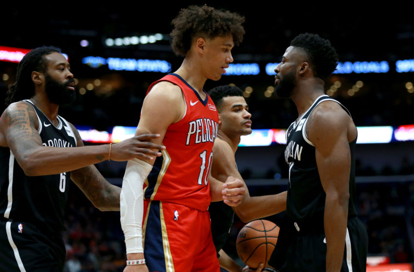 NEW ORLEANS, LOUISIANA - DECEMBER 17: Jaxson Hayes #10 of the New Orleans Pelicans and David Nwaba #0 of the Brooklyn Nets. (Photo by Sean Gardner/Getty Images)