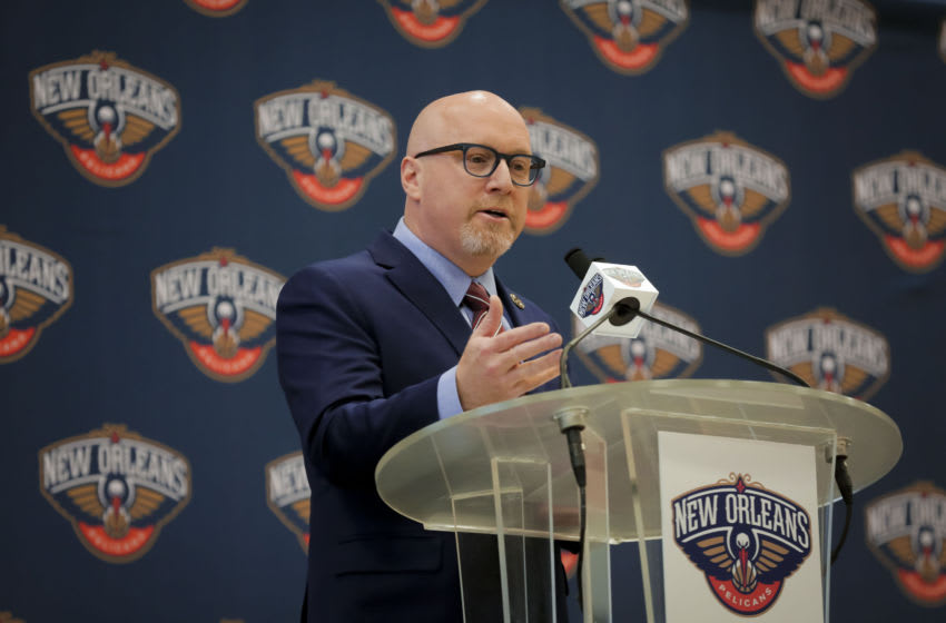 Apr 17, 2019; New Orleans, LA, USA; New Orleans Pelicans Executive Vice President of Basketball Operations David Griffin can win the 2020 NBA Draft like this. Mandatory Credit: Derick E. Hingle-USA TODAY Sports