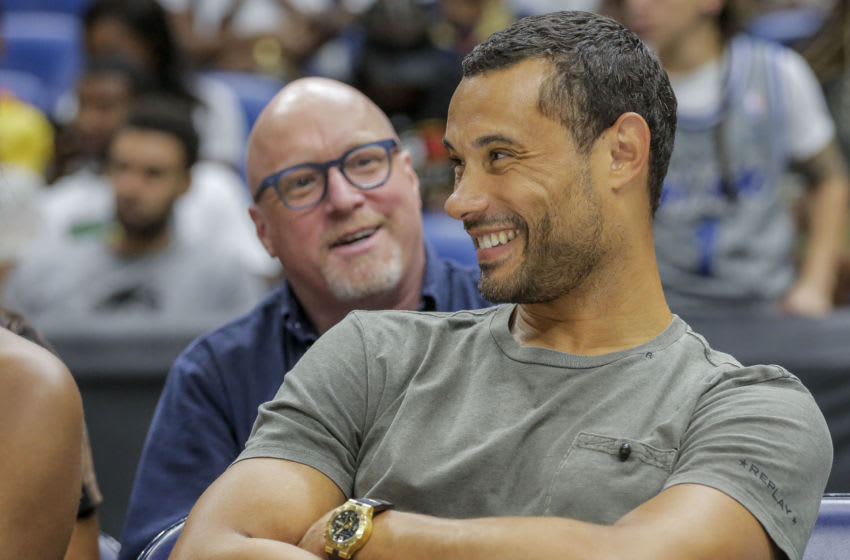 New Orleans Pelicans front office David Griffin and Trajan Langdon have four coaching candidates. Mandatory Credit: Derick E. Hingle-USA TODAY Sports