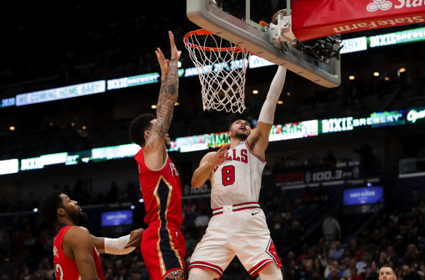 Jan 8, 2020; New Orleans, Louisiana, USA; Chicago Bulls guard Zach LaVine (8) shoots over New Orleans Pelicans guard Lonzo Ball (2) during the second quarter at the Smoothie King Center. Mandatory Credit: Derick E. Hingle-USA TODAY Sports