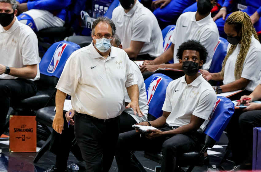Jan 8, 2021; New Orleans, Louisiana, USA; New Orleans Pelicans head coach Stan Van Gundy looks on against Charlotte Hornets during the second quarter at Smoothie King Center. Mandatory Credit: Stephen Lew-USA TODAY Sports
