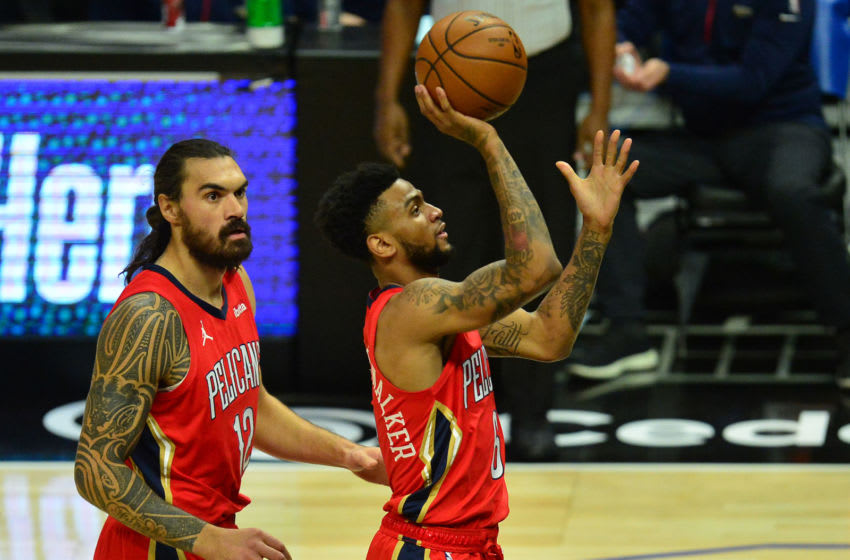 Jan 13, 2021; Los Angeles, California, USA; New Orleans Pelicans guard Nickeil Alexander-Walker (6) shoots against the Los Angeles Clippers during the first half at Staples Center. Mandatory Credit: Gary A. Vasquez-USA TODAY Sports