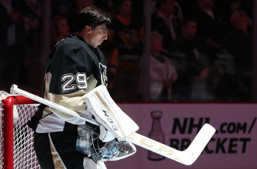 Mar 31, 2016; Pittsburgh, PA, USA; Pittsburgh Penguins goalie Marc-Andre Fleury (29) stands for the national anthem against the Nashville Predators during the first period at the CONSOL Energy Center. The Penguins won 5-2. Mandatory Credit: Charles LeClaire-USA TODAY Sports