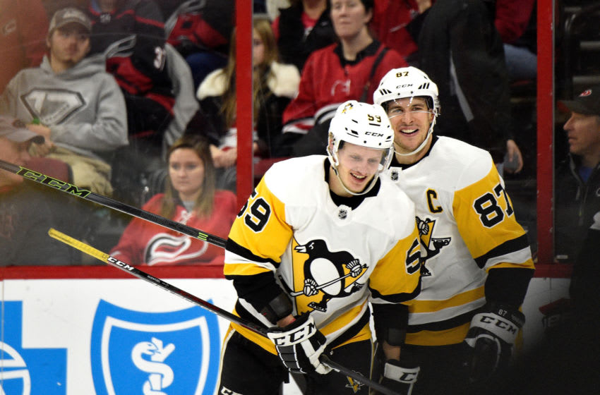 Jake Guentzel #59 and Sidney Crosby #87 of the Pittsburgh Penguins. (Photo by Grant Halverson/Getty Images)