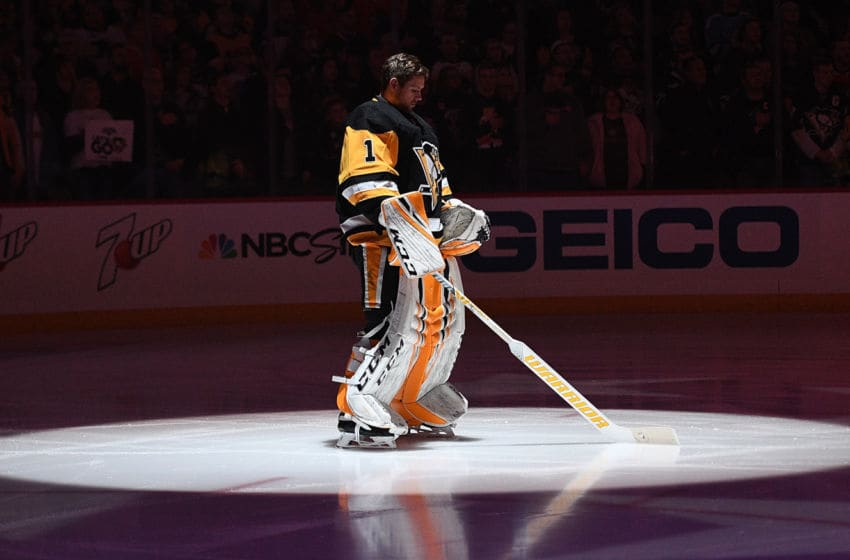 Casey DeSmith #1 of the Pittsburgh Penguins. (Photo by Justin Berl/Getty Images)