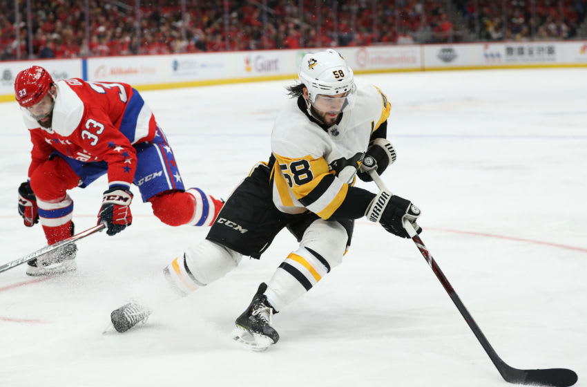 Kris Letang #58 of the Pittsburgh Penguins. (Photo by Patrick Smith/Getty Images)