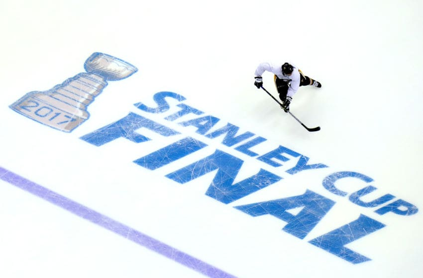 A member of the Pittsburgh Penguins skates. (Photo by Bruce Bennett/Getty Images)