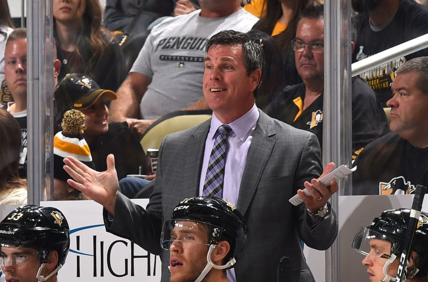 PITTSBURGH, PA - OCTOBER 07: Head coach Mike Sullivan of the Pittsburgh Penguins looks on against the Nashville Predators at PPG Paints Arena on October 7, 2017 in Pittsburgh, Pennsylvania. (Photo by Joe Sargent/NHLI via Getty Images) *** Local Caption ***