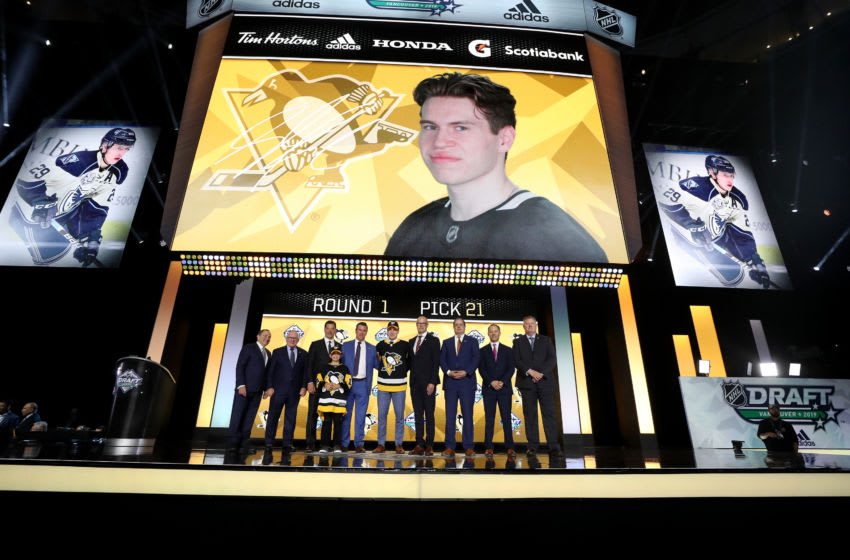 Samuel Poulin reacts to getting selected by the Pittsburgh Penguins. (Photo by Bruce Bennett/Getty Images)