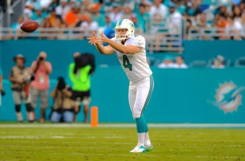 Sep 27, 2015; Miami Gardens, FL, USA; Miami Dolphins punter Matt Darr (4) punts the ball against the Buffalo Bills during a game at Sun Life Stadium. Mandatory Credit: Steve Mitchell-USA TODAY Sports