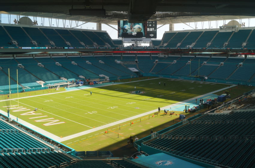 View of the field from the Edwin Pope press box at Hard Rock Stadium - image by Brian Miller