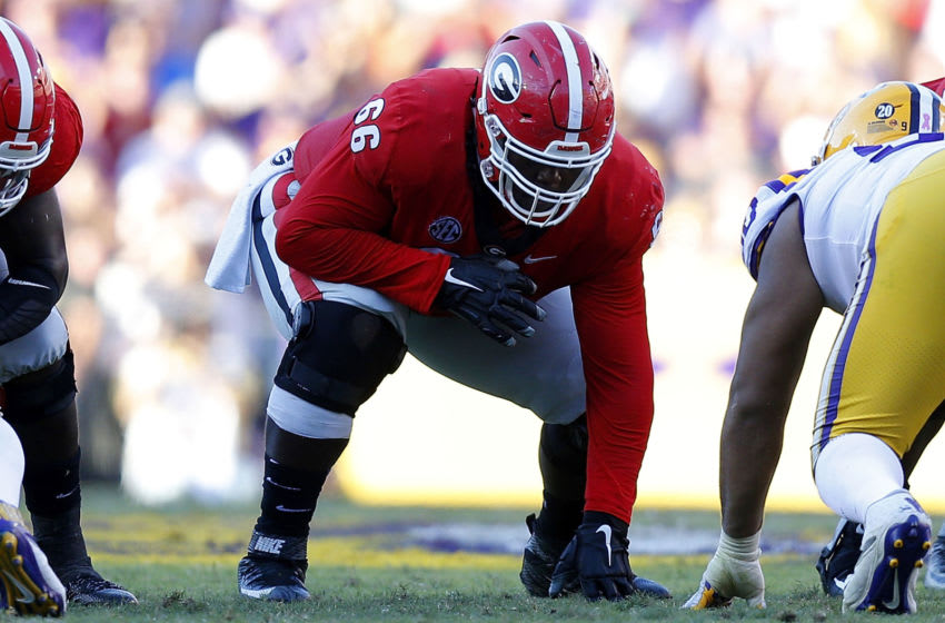 BATON ROUGE, LA - OCTOBER 13: Solomon Kindley #66 of the Georgia Bulldogs guards during a game against the LSU Tigers at Tiger Stadium on October 13, 2018 in Baton Rouge, Louisiana. (Photo by Jonathan Bachman/Getty Images)