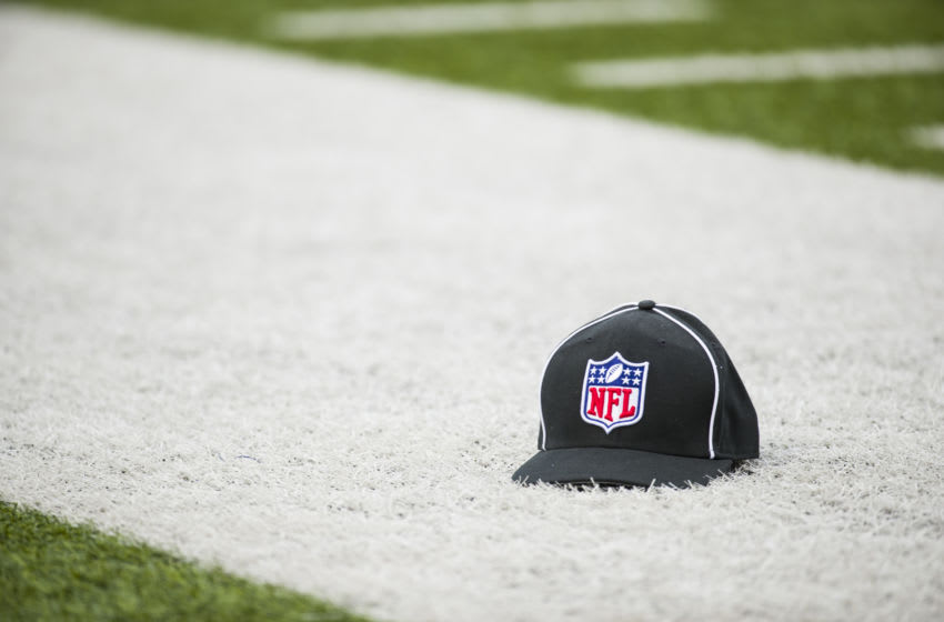 ORCHARD PARK, NY - NOVEMBER 25: A referee cap with the NFL Shield logo sets on the field's sideline during the game between the Buffalo Bills and the Jacksonville Jaguars at New Era Field on November 25, 2018 in Orchard Park, New York. Buffalo defeats Jacksonville 24-21. (Photo by Brett Carlsen/Getty Images) *** Local Caption ***