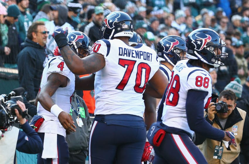 PHILADELPHIA, PA - DECEMBER 23: Quarterback Deshaun Watson #4 of the Houston Texans celebrates his touchdown with teammate offensive tackle Julie'n Davenport #70 against the Philadelphia Eagles in the second quarter at Lincoln Financial Field on December 23, 2018 in Philadelphia, Pennsylvania. (Photo by Mitchell Leff/Getty Images)