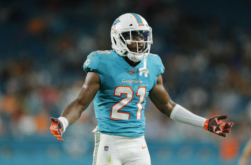 MIAMI, FLORIDA - AUGUST 22: Eric Rowe #21 of the Miami Dolphins reacts to a pass interference call during action against the Jacksonville Jaguars in the first quarter of the preseason game at Hard Rock Stadium on August 22, 2019 in Miami, Florida. (Photo by Michael Reaves/Getty Images)