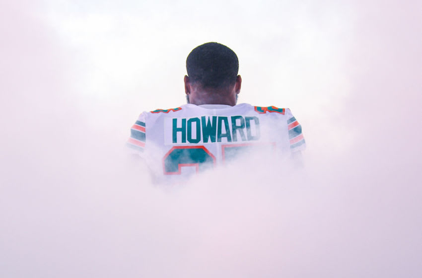MIAMI, FLORIDA - SEPTEMBER 15: Xavien Howard #25 of the Miami Dolphins takes the field prior to the game against the New England Patriots at Hard Rock Stadium on September 15, 2019 in Miami, Florida. (Photo by Mark Brown/Getty Images)