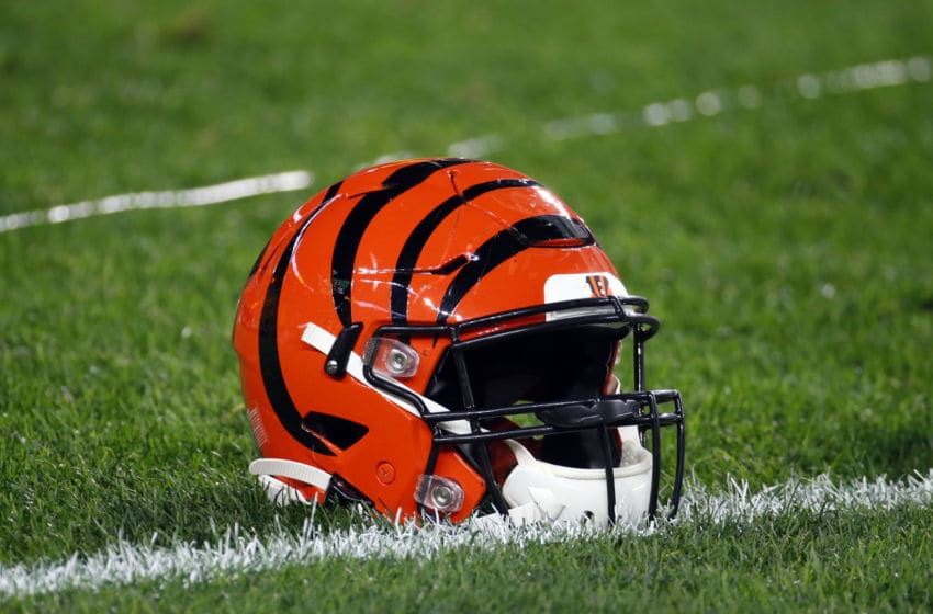 PITTSBURGH, PA - SEPTEMBER 30: A Cincinnati Bengals football helmet is seen against the Pittsburgh Steelers on September 30, 2019 at Heinz Field in Pittsburgh, Pennsylvania. (Photo by Justin K. Aller/Getty Images)