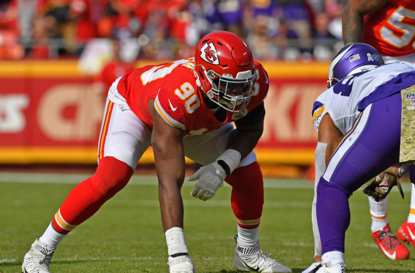 KANSAS CITY, MO - NOVEMBER 03: Defensive end Emmanuel Ogbah #90 of the Kansas City Chiefs gets set on defense against the Minnesota Vikings during the first half at Arrowhead Stadium on November 3, 2019 in Kansas City, Missouri. (Photo by Peter G. Aiken/Getty Images)