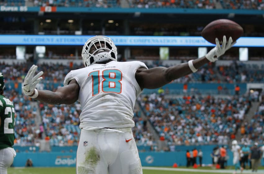 MIAMI GARDENS, FL - NOVEMBER 3: Preston Williams #18 of the Miami Dolphins celebrates after scoring a touchdown against the New York Jets during an NFL game on November 3, 2019 at Hard Rock Stadium in Miami Gardens, Florida. The Dolphins defeated the Jets 26-18. (Photo by Joel Auerbach/Getty Images)