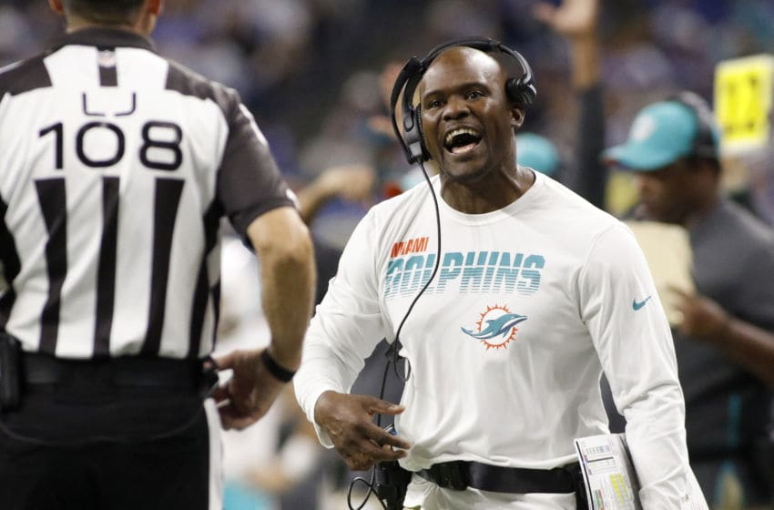 INDIANAPOLIS, INDIANA - NOVEMBER 10: Head coach Brian Flores of the Miami Dolphins yells to the official against the Indianapolis Colts in the fourth quarter at Lucas Oil Stadium on November 10, 2019 in Indianapolis, Indiana. (Photo by Justin Casterline/Getty Images)
