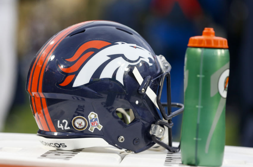 ORCHARD PARK, NY - NOVEMBER 24: A general view of a Denver Broncos helmet during a game against the Buffalo Bills at New Era Field on November 24, 2019 in Orchard Park, New York. Buffalo beats Denver 20 to 3. (Photo by Timothy T Ludwig/Getty Images)