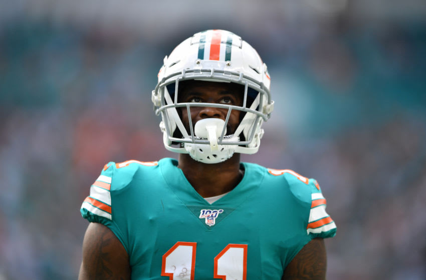 MIAMI, FLORIDA - DECEMBER 01: DeVante Parker #11 of the Miami Dolphins looks on after making a catch against the Philadelphia Eagles in the second quarter at Hard Rock Stadium on December 01, 2019 in Miami, Florida. (Photo by Mark Brown/Getty Images)