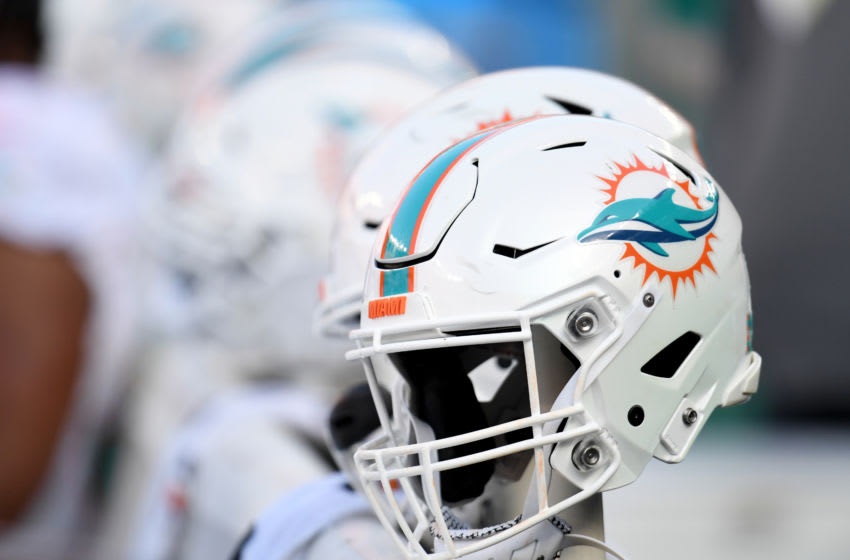 CLEVELAND, OHIO - NOVEMBER 24: A Miami Dolphins helmet on the sidelines during the game between the Miami Dolphins and the Cleveland Browns at FirstEnergy Stadium on November 24, 2019 in Cleveland, Ohio. (Photo by Jason Miller/Getty Images)