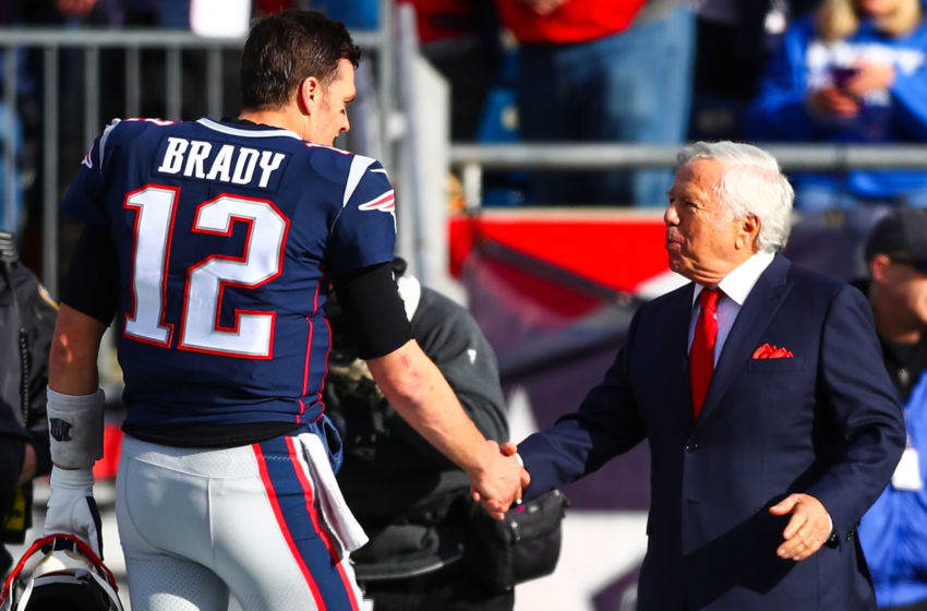 FOXBOROUGH, MA - DECEMBER 29: Tom Brady #12 shakes the hand of owner Robert Kraft of the New England Patriots before a game against the Miami Dolphins at Gillette Stadium on December 29, 2019 in Foxborough, Massachusetts. (Photo by Adam Glanzman/Getty Images)