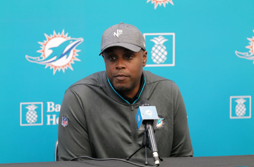 DAVIE, FLORIDA - DECEMBER 30: General Manager Chris Grier of the Miami Dolphins answers questions from the media during a season ending press conference at Baptist Health Training Facility at Nova Southern University on December 30, 2019 in Davie, Florida. (Photo by Mark Brown/Getty Images)