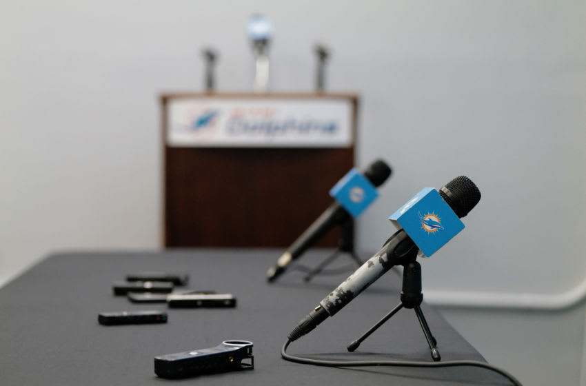 DAVIE, FLORIDA - DECEMBER 30: A general view of the media room prior to a season ending press conference by the Miami Dolphins at Baptist Health Training Facility at Nova Southern University on December 30, 2019 in Davie, Florida. (Photo by Mark Brown/Getty Images)