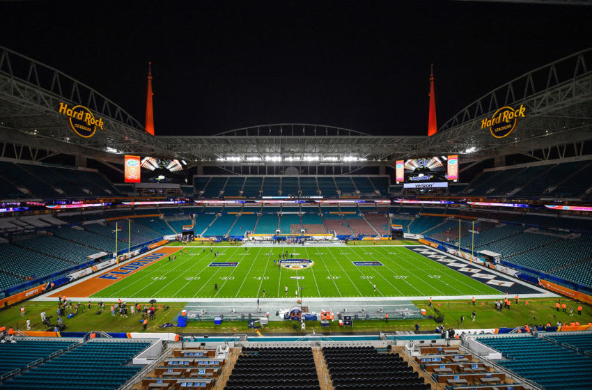 MIAMI, FLORIDA - DECEMBER 30: A general view of the field prior to the Capital One Orange Bowl between the Florida Gators and the Virginia Cavaliers the at Hard Rock Stadium on December 30, 2019 in Miami, Florida. (Photo by Mark Brown/Getty Images)