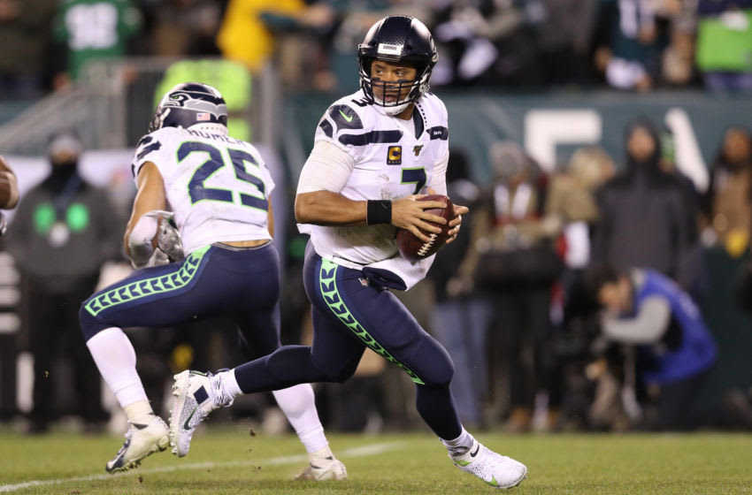 PHILADELPHIA, PENNSYLVANIA - JANUARY 05: Quarterback Russell Wilson #3 of the Seattle Seahawks looks to pass the ball against the Philadelphia Eagles during their NFC Wild Card Playoff game at Lincoln Financial Field on January 05, 2020 in Philadelphia, Pennsylvania. (Photo by Patrick Smith/Getty Images)