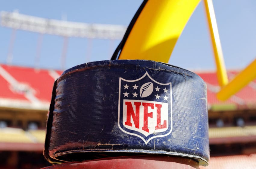 KANSAS CITY, MISSOURI - JANUARY 19: A detail view of the NATIONAL FOOTBALL LEAGUE logo on the goal post stanchion before the AFC Championship Game between the Kansas City Chiefs and the Tennessee Titans at Arrowhead Stadium on January 19, 2020 in Kansas City, Missouri. (Photo by David Eulitt/Getty Images)