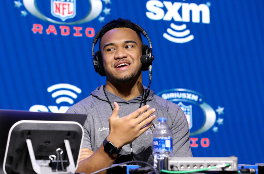 MIAMI, FLORIDA - JANUARY 30: University of Alabama quarterback, Tua Tagovailoa speaks onstage during day 2 of SiriusXM at Super Bowl LIV on January 30, 2020 in Miami, Florida. (Photo by Cindy Ord/Getty Images for SiriusXM )