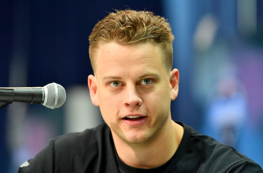 INDIANAPOLIS, INDIANA - FEBRUARY 25: Joe Burrow #QB02 of LSU interviews during the first day of the 2020 NFL Draft at Lucas Oil Stadium on February 25, 2020 in Indianapolis, Indiana. (Photo by Alika Jenner/Getty Images)